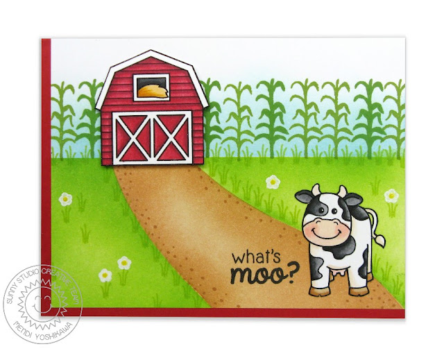 Sunny Studio Stamps: Barnyard Buddies What's Moo? Handmade Cow Card by Mendi Yoshikawa