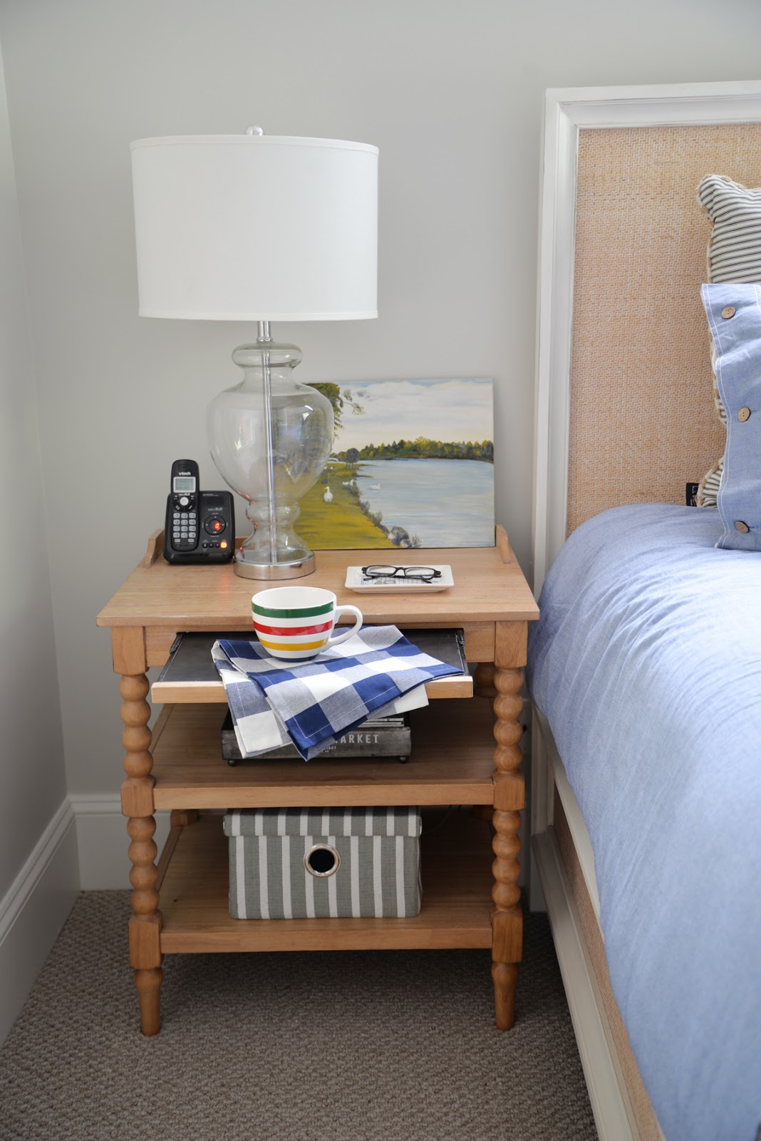 spool nightstand, rattan headboard, country cottage bedroom | Ramblingrenovators.ca