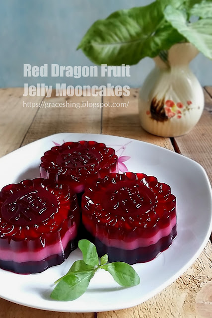 火龙果燕菜月饼 Red Dragon Fruit Jelly Mooncakes