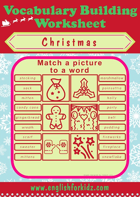 Printable worksheets to memorize Christmas vocabulary