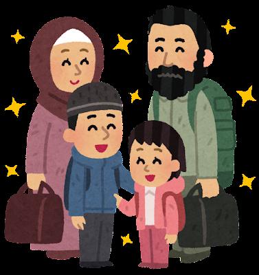 笑顔の難民の家族のイラスト
