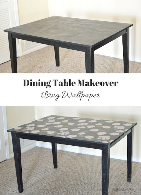 Dining Table makeover using wallpaper + Giveaway!