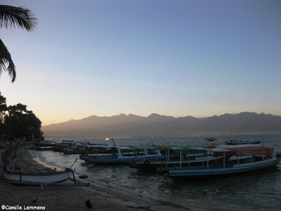 Gili Air taxi boats with Lombok mountains in the background