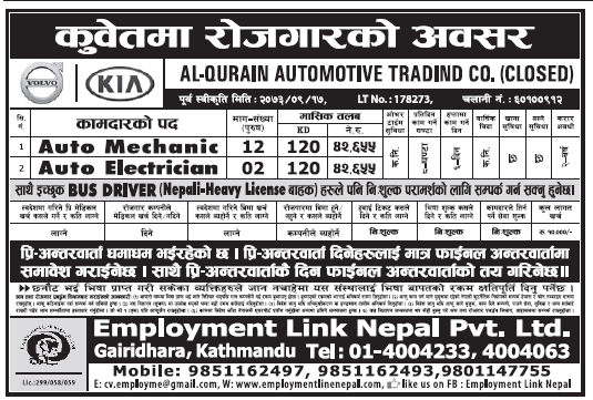 Jobs in Kuwait for Nepali, Salary Rs 42,655