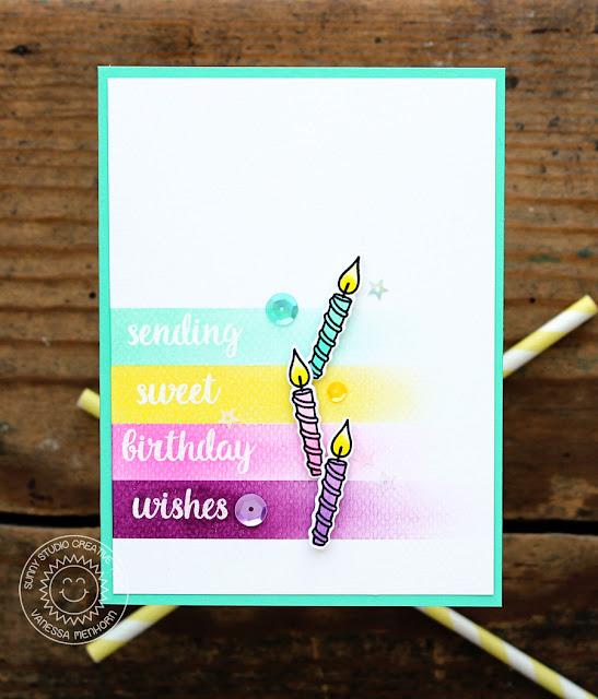 Sunny Studio Stamps: Heartfelt Wishes Birthday Candle Wishes Card by Vanessa Menhorn