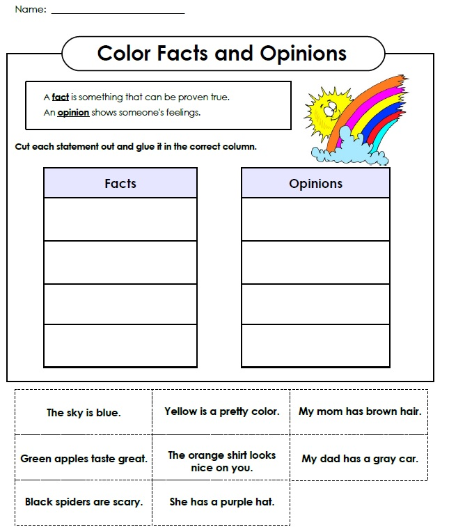 Fps Eagles Sort It Facts Or Opinions Grade Iv And V