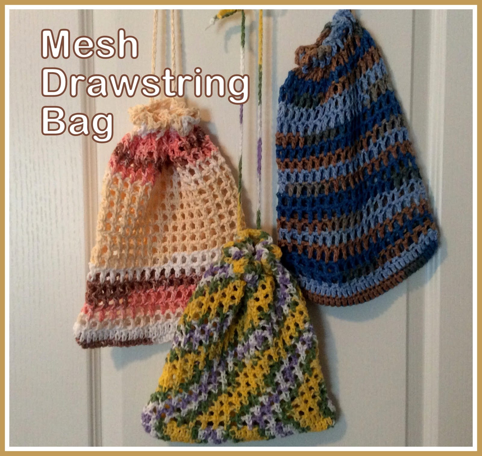 Easy Crochet String Bag Pattern : Posh Pooch Designs Dog Clothes: Small Mesh Drawstring Bag ...