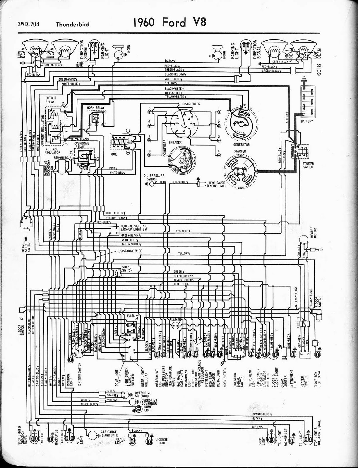 Free Auto Wiring Diagram: 1960 Ford V8 Thunderbird Wiring