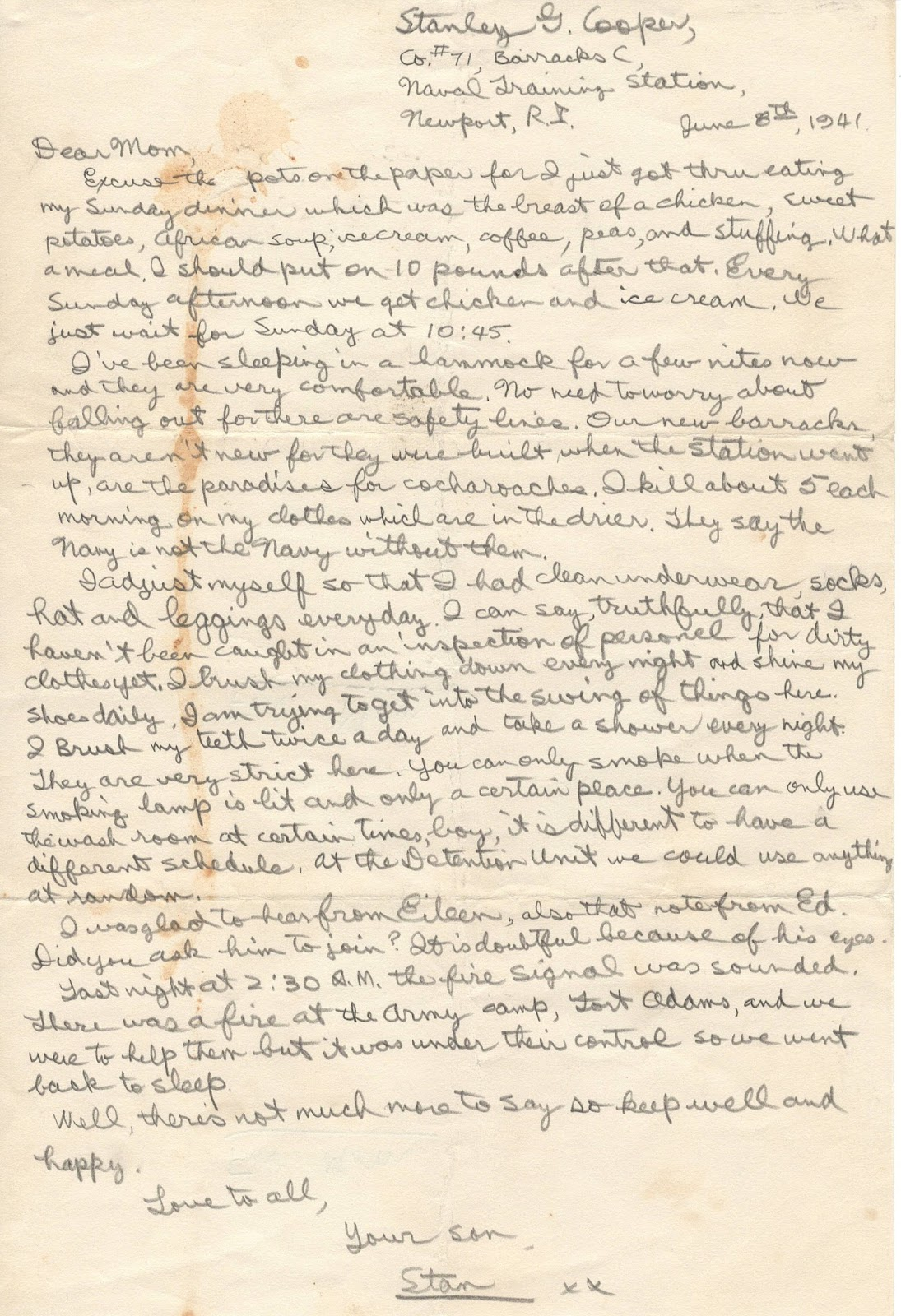 Family Film, Fabric And Food: World War Ii Letters - 8 June 1941