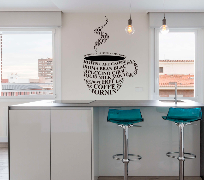 VINILO TAZA DE CAFÉ EN LETRAS