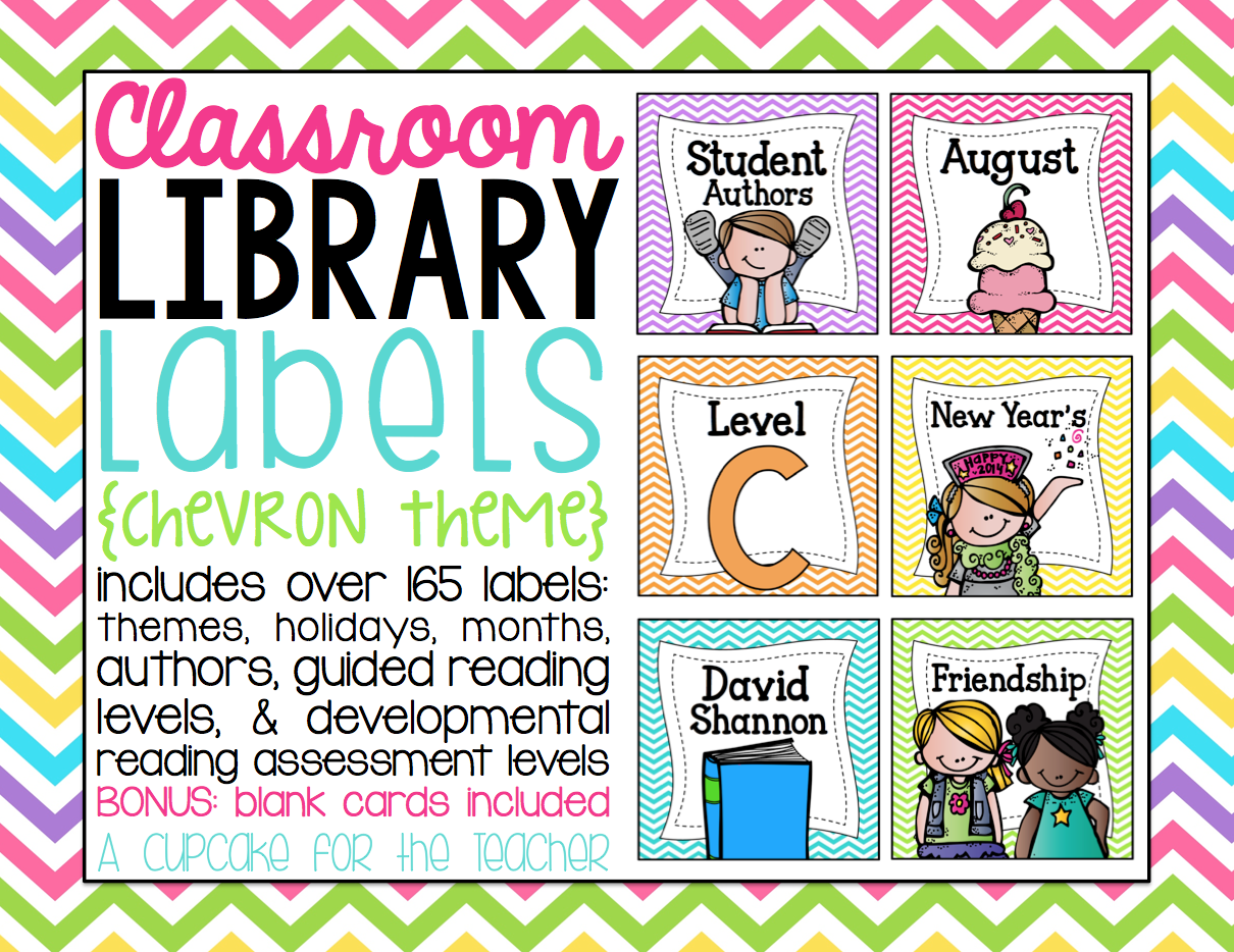 Classroom library labels chevron theme a cupcake for for Room labels