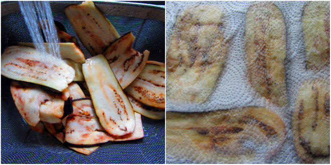 Baked breaded eggplants with salsa and cheese by Laka kuharica: rinse salt off eggplant and pat dry