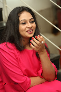 Actress Arundathi Nair Stills in Red Chididar at Bethaludu Success Meet  0089.JPG