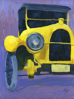 painting car yellow antique automotive impressionist homer laughlin