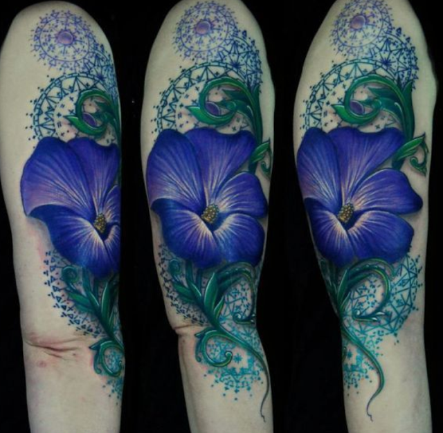 3D Tattoo Of Blue Beautiful Flowers