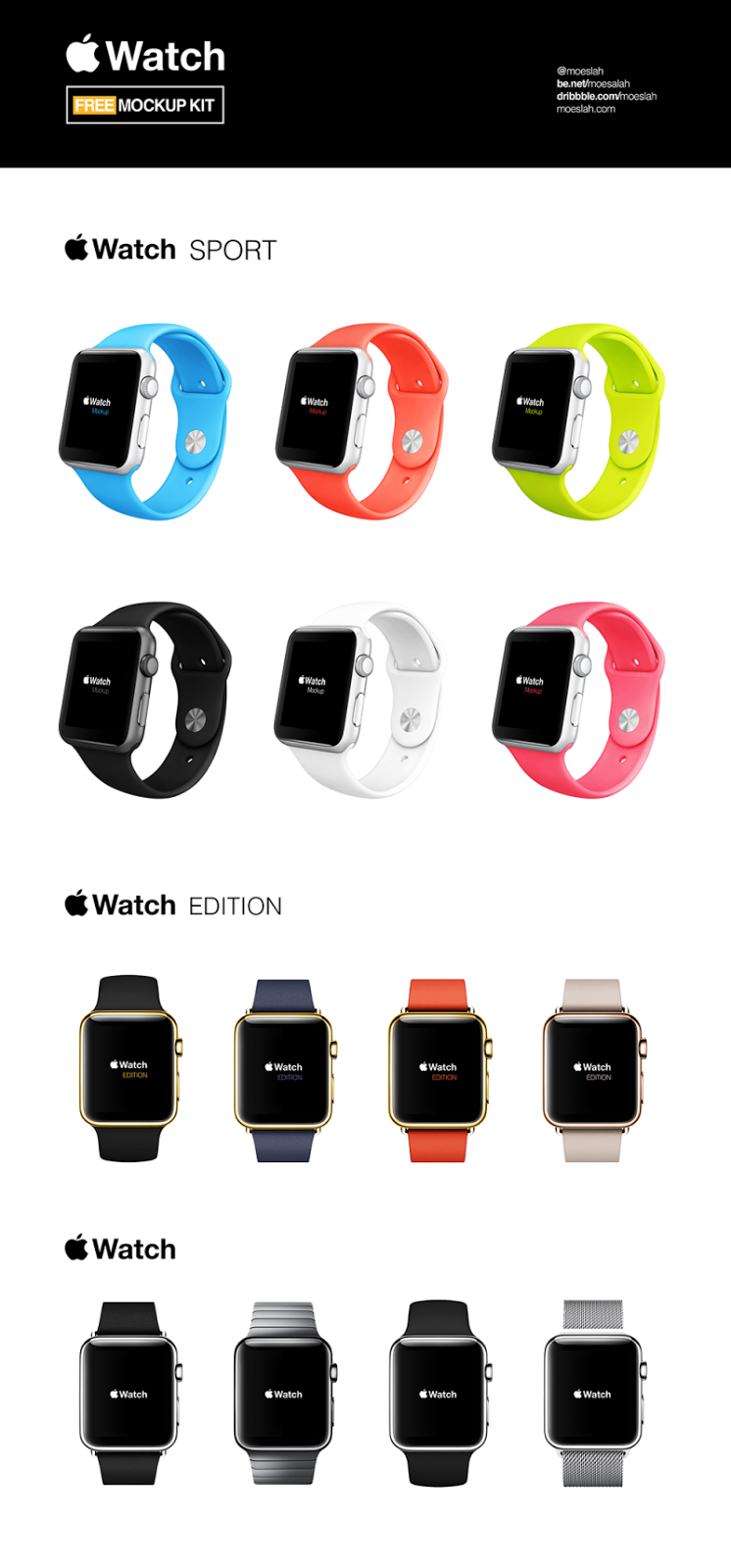 Apple Watch Mockups Kit PSD
