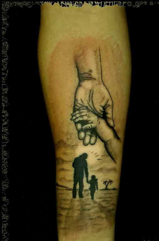 e9cd1d22340ce Son and daughter may dedicate this beautiful hand tattoo design to their  father. father daughter matching tattoos