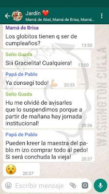 Padre manda por error mensajes al grupo del jardin de infantes