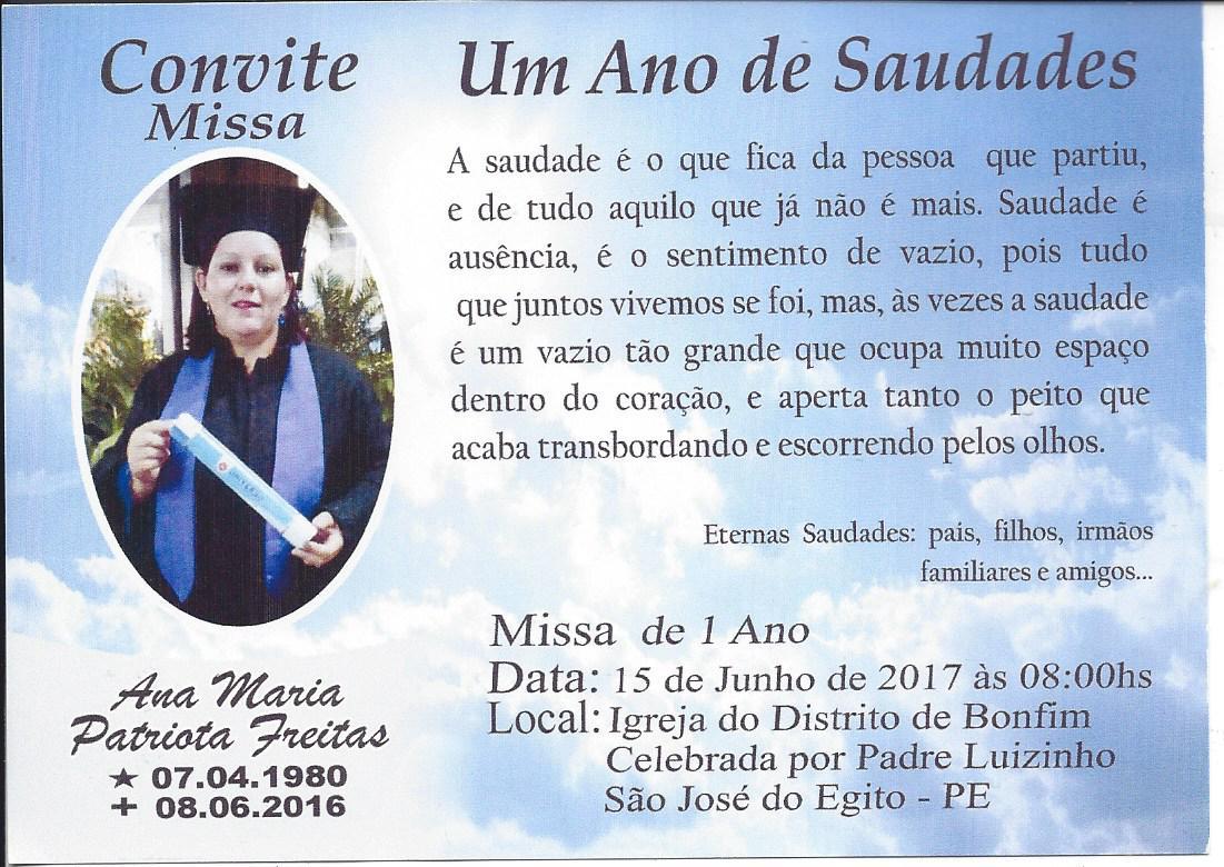 Convite Missa De 1 Ano De Falecimento Da Conselheira Tutelar De Sje