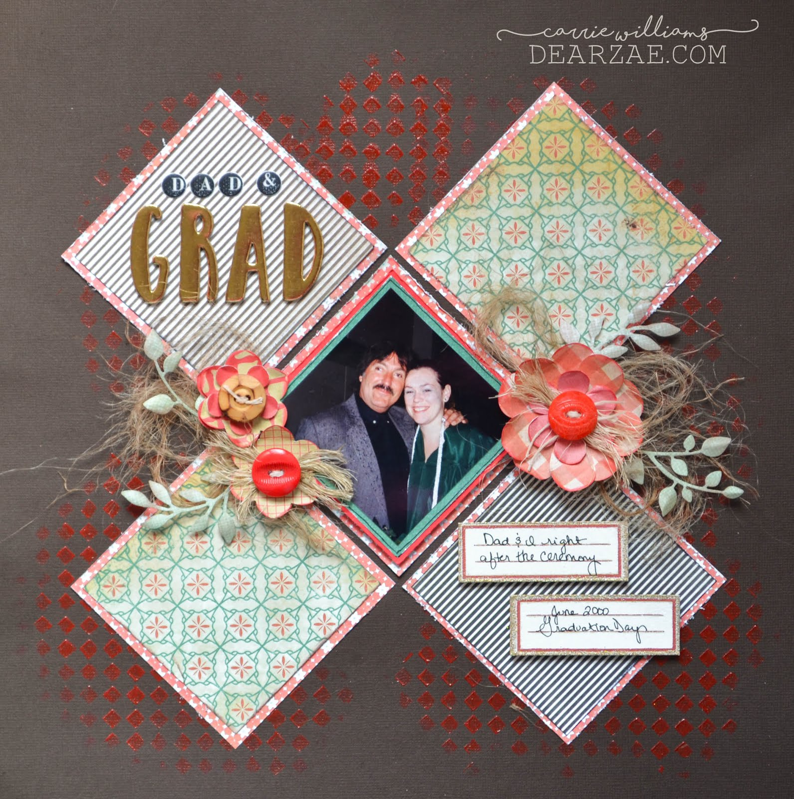 Sketch challenge scrapbook layout on brown background with angled squares and American Crafts DIY shop paper