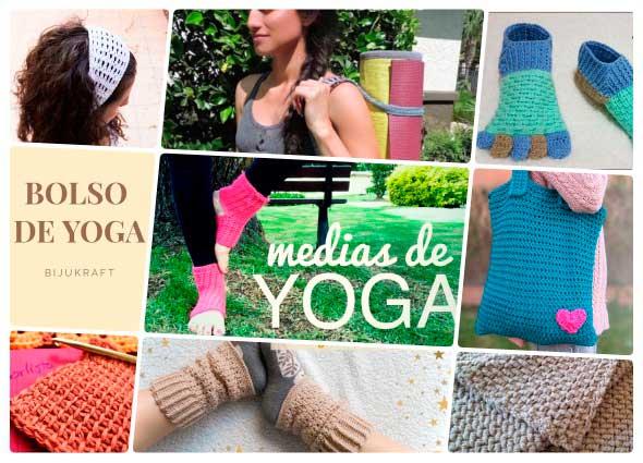 equipo a ganchillo de yoga, complementos croché yoga, patrones para crochet