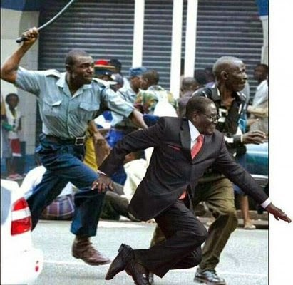 Mugabe being chased away by Zimbabwean policeman for not doing his job properly via geniushowto.blogspot.com #MugabeFalls memes