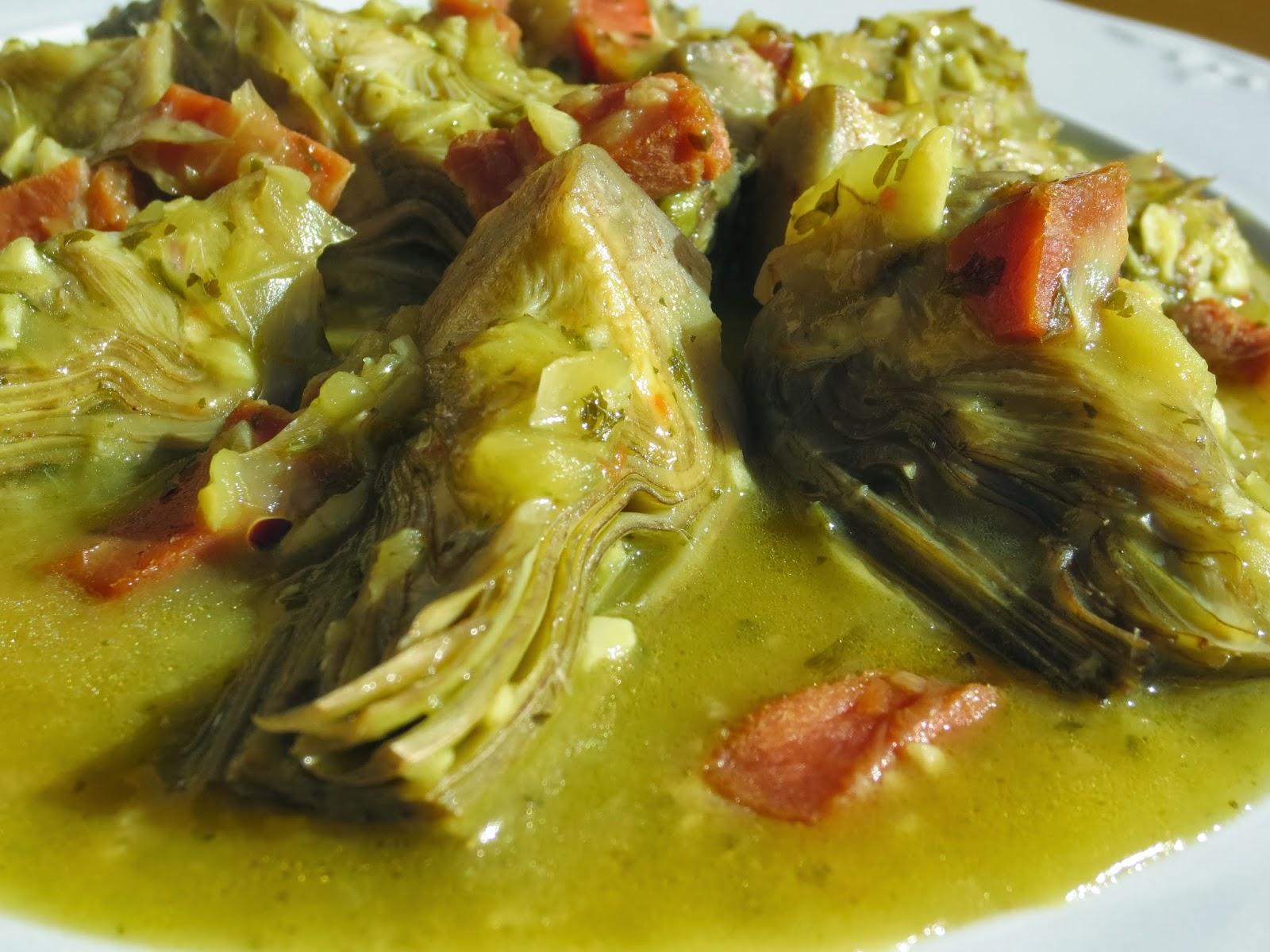 Alcachofas con jamón Thermomix