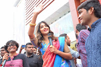 Puja Hegde looks stunning in Red saree at launch of Anutex shopping mall ~ Celebrities Galleries 141.JPG