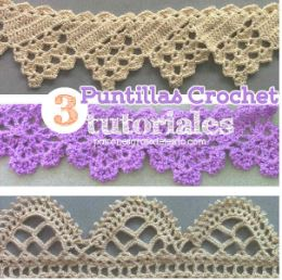 3 Tutoriales de Puntillas crochet