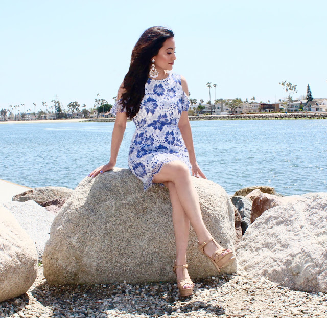 summer dress summer style summer sundress YSL Tribute platform sandal California fashion lifestyle blogger petite fashion blogger A Stylish Love Story Joanna Joy blue and white floral lace French Connection Tom Ford sunglasses Forever 21 earrings