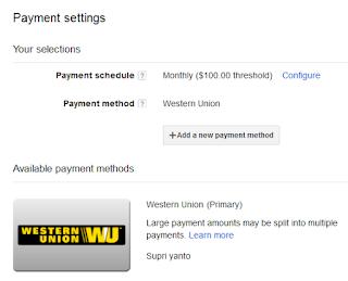 payment setting adsense