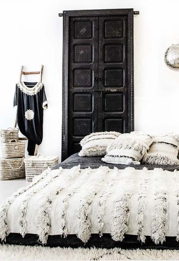Black And White Boho Space Featuring A Chic Moroccan Wedding Blanket Image Via View From 5ft2