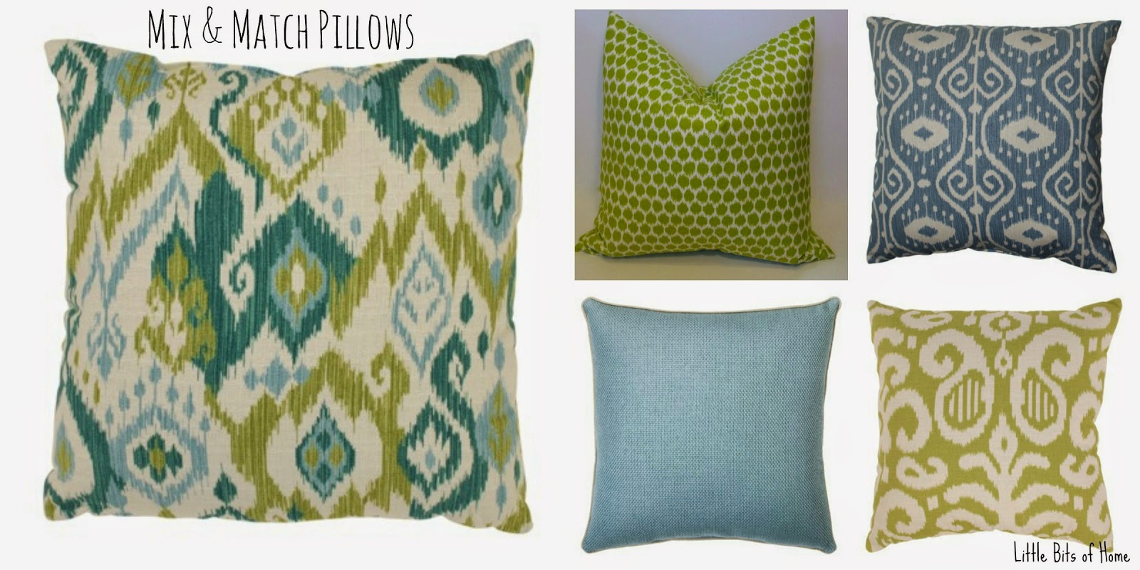 Little bits of home green blue living room inspiration - Living room curtains with matching pillows ...