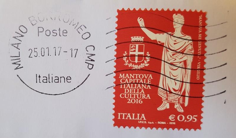 francobollo MANTOVA CAPITALE ITALIANA DELLA CULTURA 2016