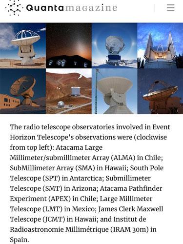 Eight radio telescopes that make up the Event Horizon Telescope ( EHT) (Source: Janna Levin, Quanta Magazine)