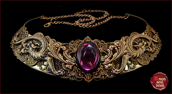 collier dragon violet bronze medieval renaissance purple necklace targaryen daenerys jewelry