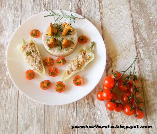 mięso mielone w parowarze, z warzywami i grzybami