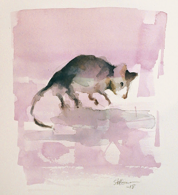 watercolour sketch of a mouse