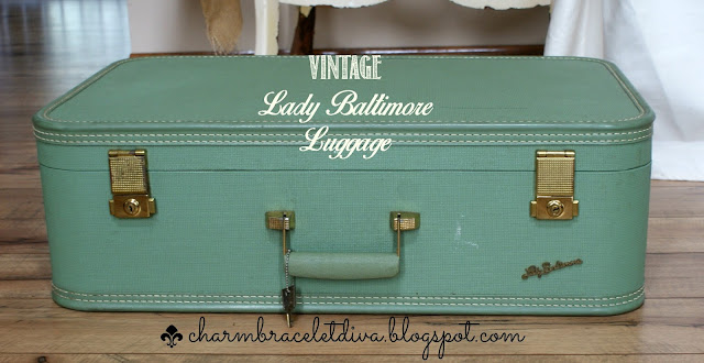 Vintage Green Lady Baltimore Suitcase