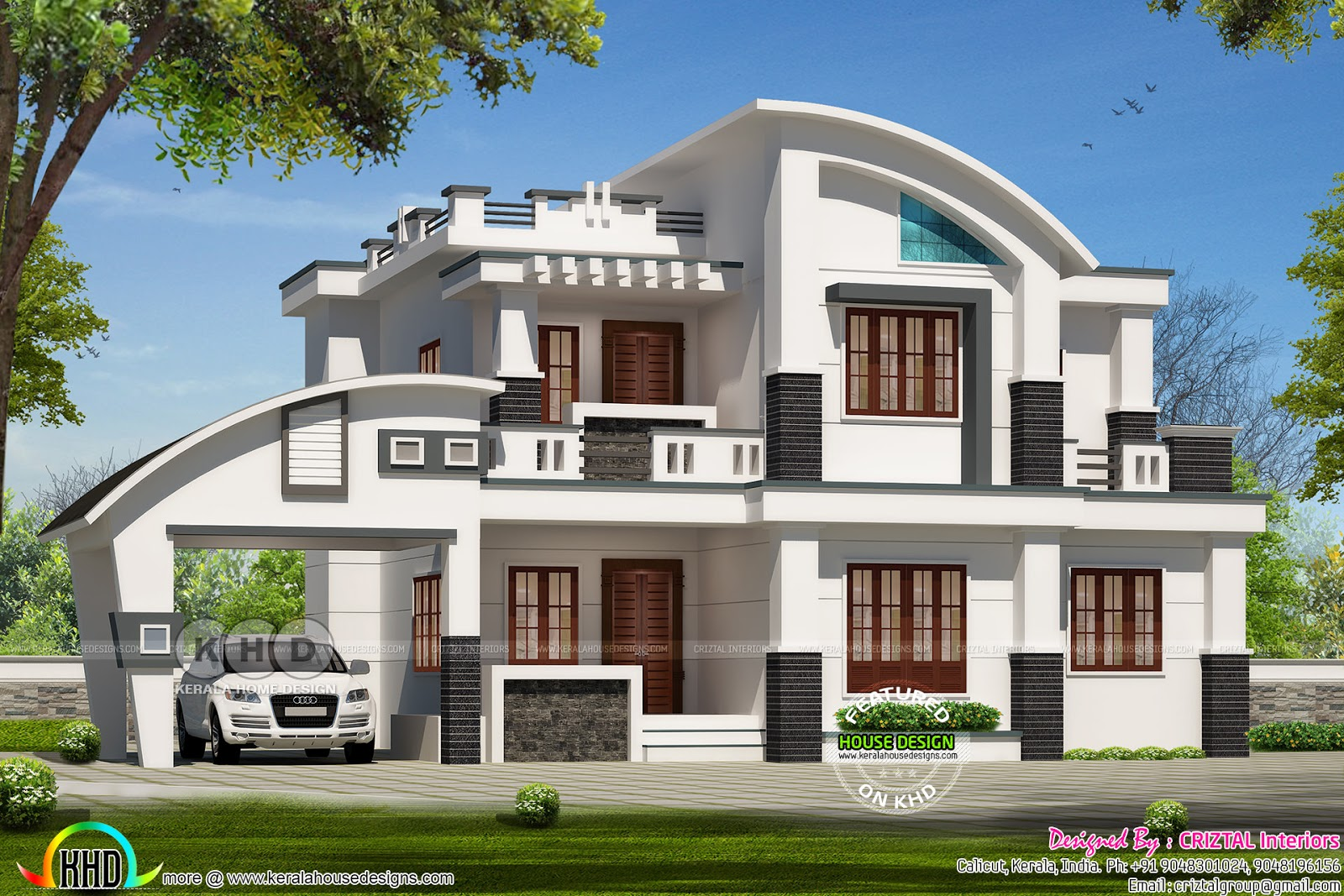 2900 square feet 4 bhk contemporary style curved roof for Curved roof house plans