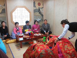 Traditional Korean wedding ceremony at wedding hall - bowing to parents