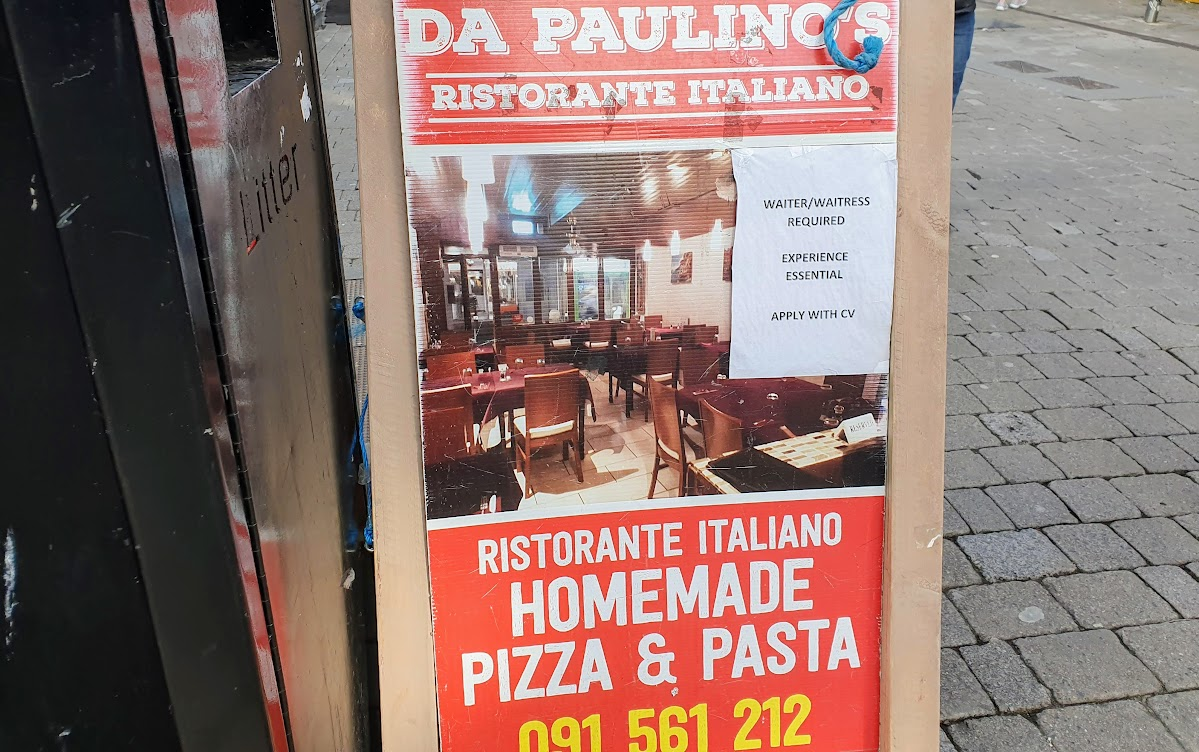 Main street advertising sign for Galway-based Ristorante Italiano homemade pizza and pasta restaurante.   Phone 091 561 212