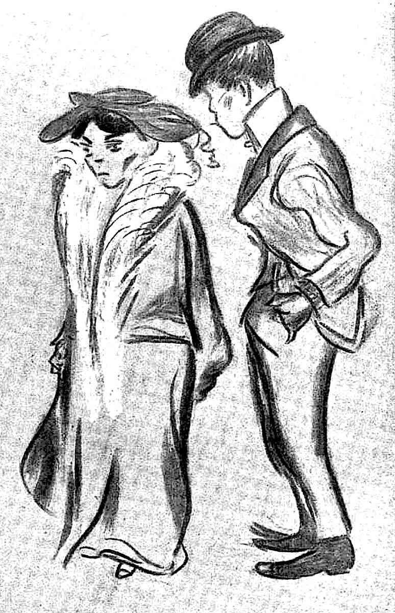 a man staring rudely at a woman in public by Heinrich Zille