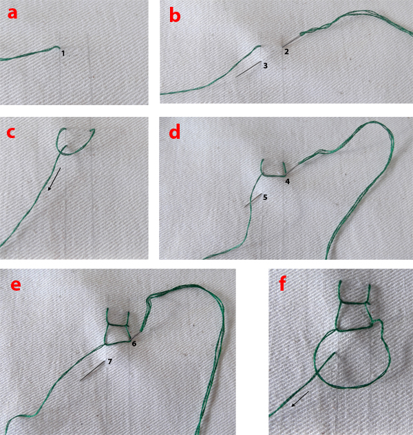 open chain stitch instructions, roman chain stitch instruction, open chain stitch photos
