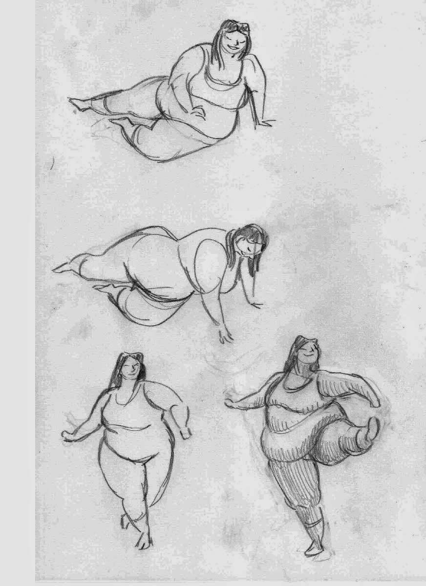 gesture drawing practice of a dancing girl