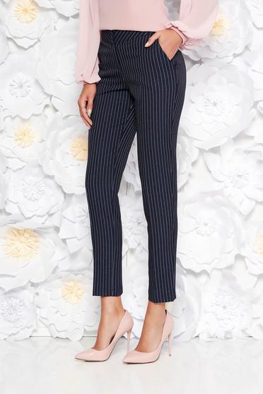 Pantaloni negri office conici cu talie medie din stofa neelastica cu buzunare