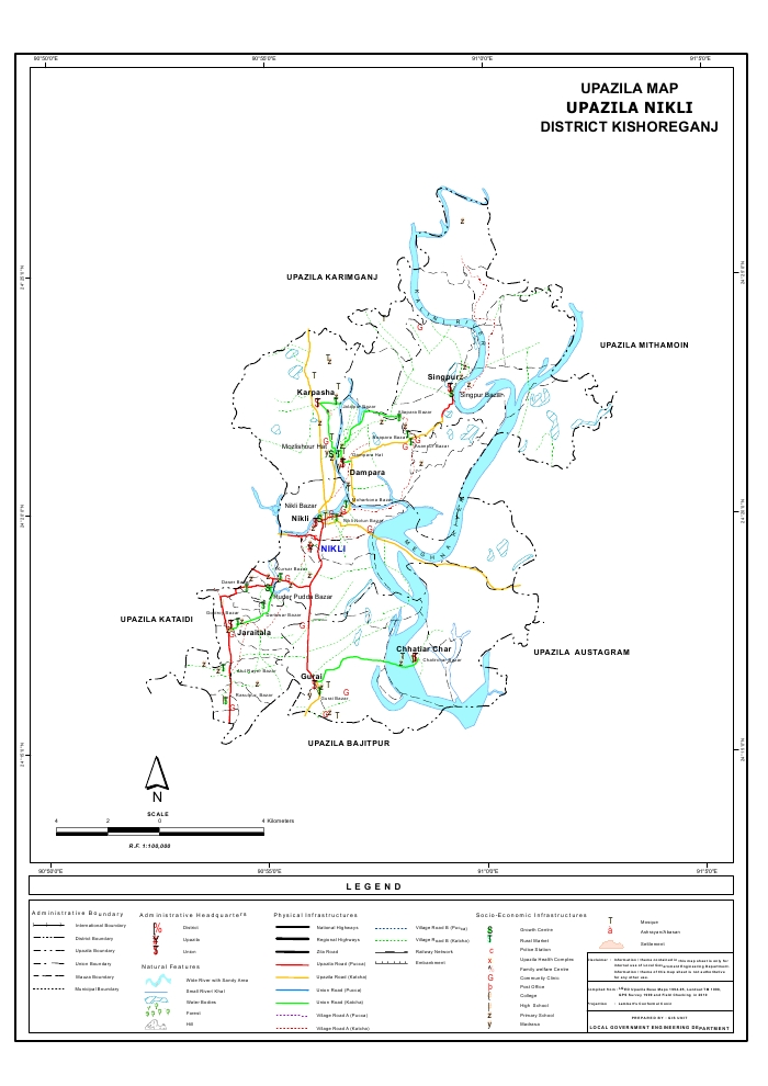 Nikli Upazila Map Kishoreganj District Bangladesh