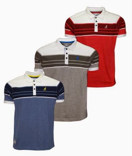 30080f9a Mens Kangol Hawkins Stripes Polo T-shirt