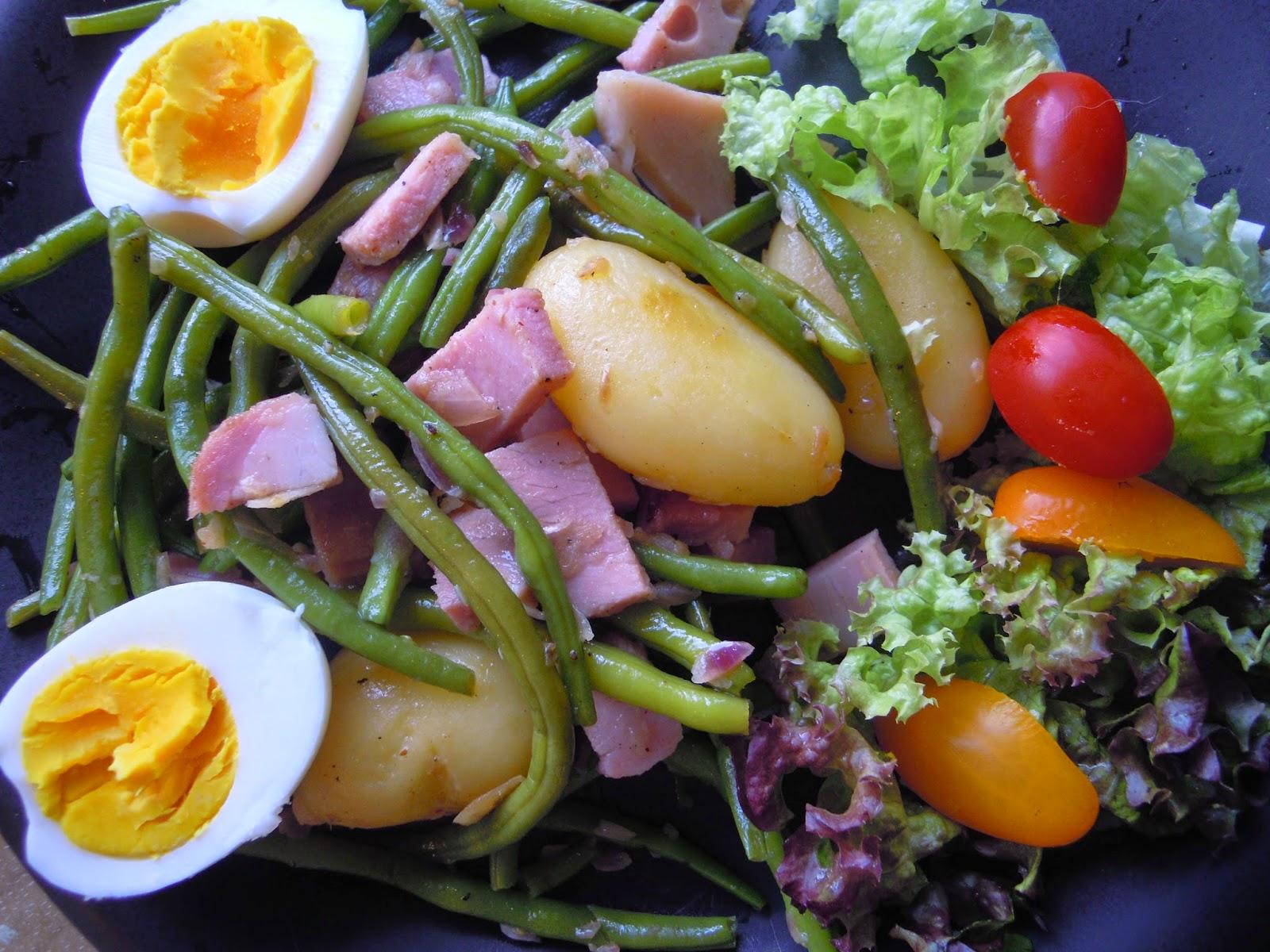 superlekkere boontjessalade met hesp, makkelijk en snel klaar