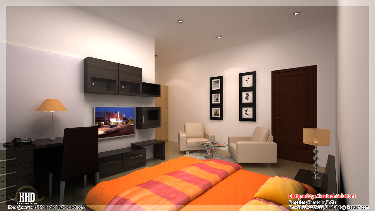 Mix collection of 3D home elevations and interiors - Kerala home